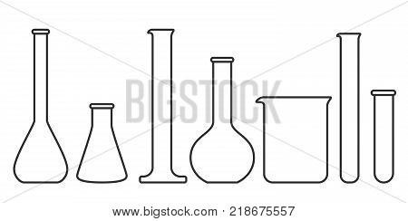 Laboratory glassware instruments in linear style. Beaker and flask, chemical glass for lab. Vector illustration
