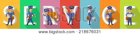 SERVICE poster in colours with working carriers on background with capital white letters. Cute postm n talking over phone, walking with envelopes and parcels in hands. Vector banner of delivery
