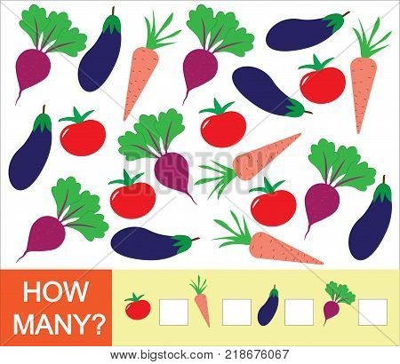 Learning numbers mathematics counting game for children. How many vegetables (tomato beet eggplant carrot). Vector illustration.