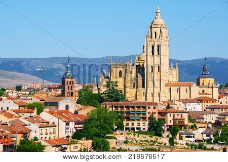 Segovia, Spain. Aerial view of old town Segovia, Spain with clear blue sky and old Cathedral.