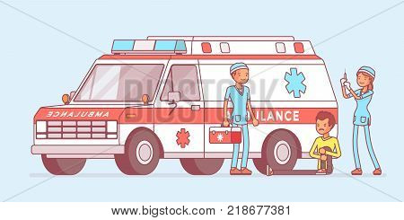 Doctors near the ambulance car. Team helping young man with injured or hurt leg, vehicle arrived at emergency call for help. Medicine and healthcare concept. Vector line art illustration