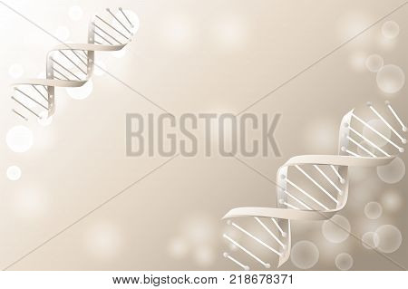 DNA sequence DNA code structure with glow. Science concept background. Nano technology. Vector illustration gray background with space for text