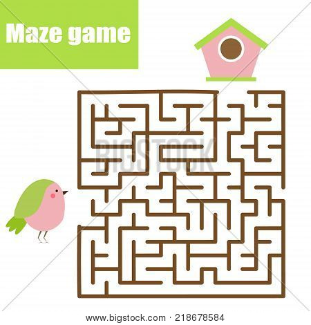 Maze children game: help bird go through the labyrinth and find birdhouse. Kids activity sheet, animals theme