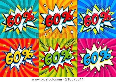 Sale set. Sale sixty percent 60 off tags on a Comics style bang shape background. Pop art comic discount promotion banners. Seasonal discounts, Black Friday, cyber monday. Vector illustration