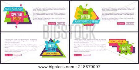 Only today special price, big and fantastic offer, set of internet pages with headlines in geometric shapes, text and buttons vector illustration