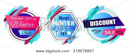 Discount -25 off winter sale and new offer, set of stickers and badges of circular shapes with titles and icons of presents vector illustration