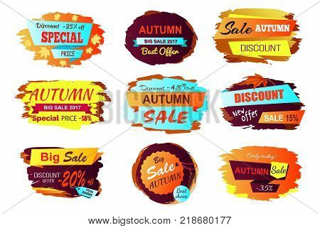 Autumn sale best offer golden yellow sign on white background. Vector illustration with special offer advert with different discount values