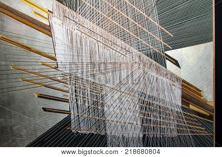 Silk fabric hand weaving process in Thailand
