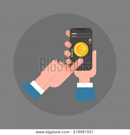 Business Man Hand Hold Smart Phone Making Mobile Payment Icon Flat Vector Illustration