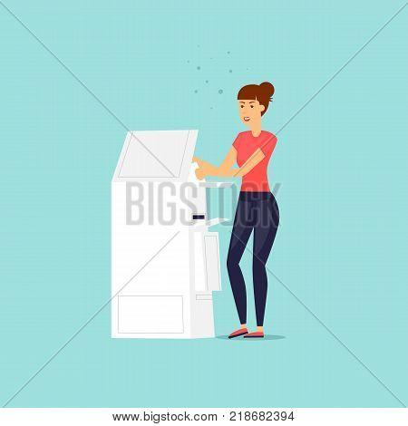 Girl with a printer scanner. Flat design vector illustration.