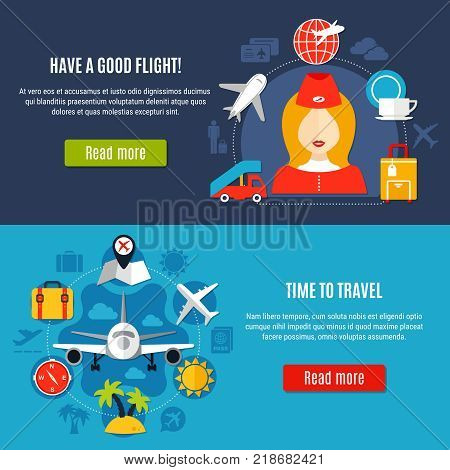 Air travel online service airlines company flight information 2 flat horizontal banners webpage design isolated vector illustration