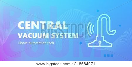 Vector illustration of automation of vacuum system emblem on blue background. Home automation technology.