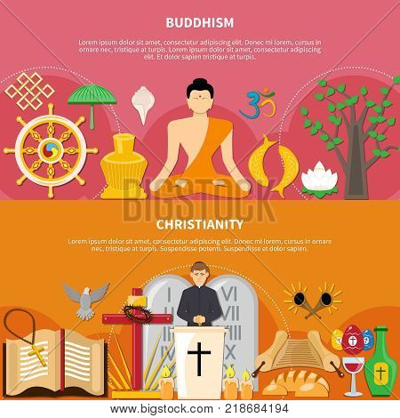Two horizontal religions flat flyer or banner set about buddhism and Christianity vector illustration