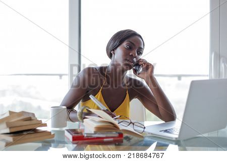 Busy woman working