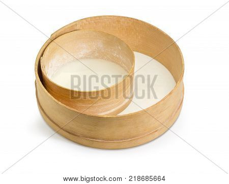 Two old round sieves different sizes with wooden frames and plastic mesh on a white background