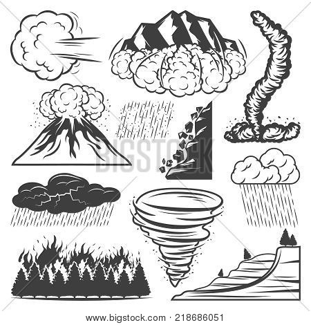 Vintage natural disasters collection with tornado volcano eruption storm rainfall hail thunderstorm landslide avalanche wildfire isolated vector illustration