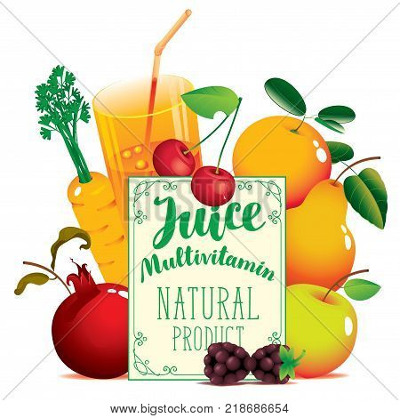Vector banner for natural fresh juice with inscription Juice Multivitamin with different fruits berries and glass of juice