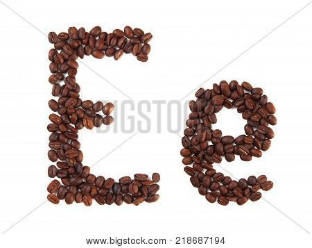 Letter E made of coffee beans isolated on white. Concepts: alphabet logo creative coffee hand made words symbols.