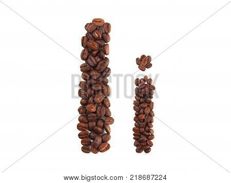 Letter I made of coffee beans isolated on white. Concepts: alphabet logo creative coffee hand made words symbols.