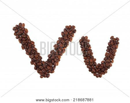 Letter V made of coffee beans isolated on white. Concepts: alphabet logo creative coffee hand made words symbols.