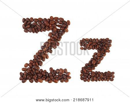 Letter Z made of coffee beans isolated on white. Concepts: alphabet logo creative coffee hand made words symbols.