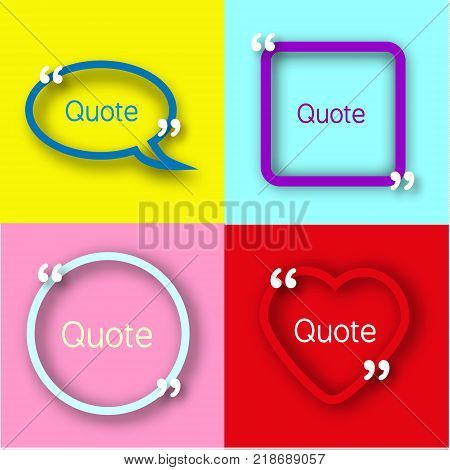 Colorful paper Frames with commas for your text. Quote bubbles in realistic style on bright backgrounds. Design template.