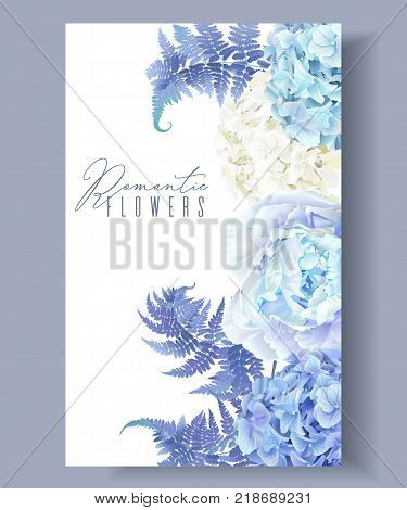 Vector botanical border with blue peony, hydrangea and fern. Floral design for natural cosmetics, perfume, women products. Best for greeting card, wedding invitation. Can be used as winter background