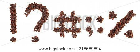 collage of symbols made of coffee beans isolated on white. Concepts: alphabet logo creative.