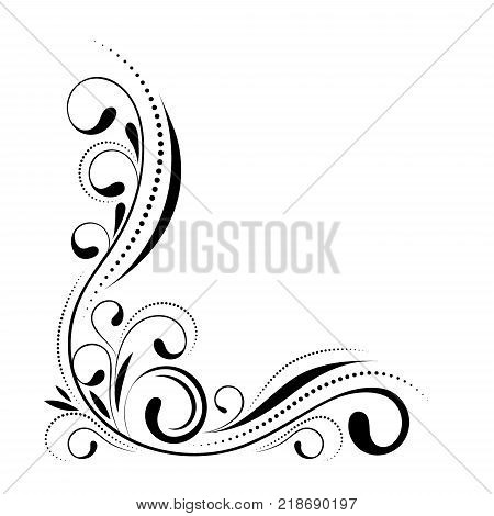 Floral corner design. Swirl ornament isolated on white background - vector illustration. Decorative border with curve elements, pattern.