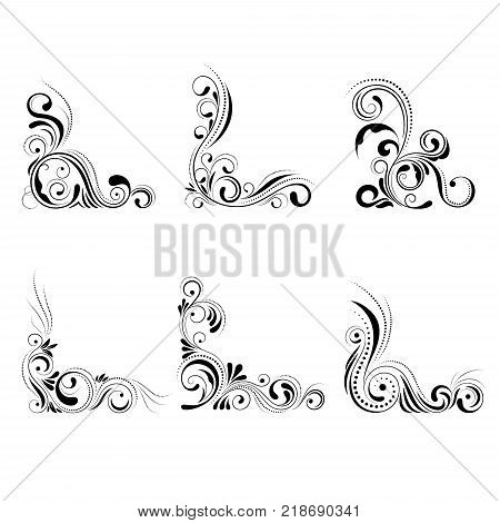 Set floral corner design. Swirl ornament isolated on white background - vector illustration. Decorative border with curve elements, pattern.