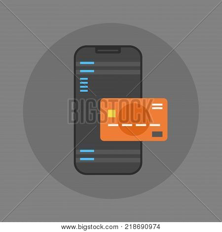 Mobile Payment Icon Cell Smart Phone And Credit Card Flat Vector Illustration