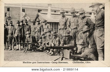 Machine Gun Instructions - Early 1900's WWI postcard depicting soldiers receiving machine gun instructions.at Camp Sherman in Chillicothe, Ohio.