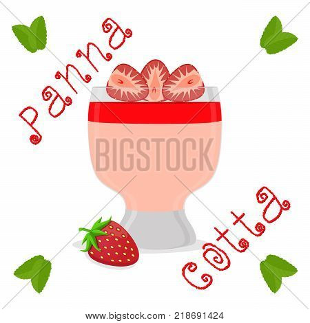 Abstract vector icon illustration logo for jelly strawberry panna cotta. Jelly pattern consisting of natural design sweet food pudding pannacotta. Eat fresh fruit jellies Panna Cotta in puddings.