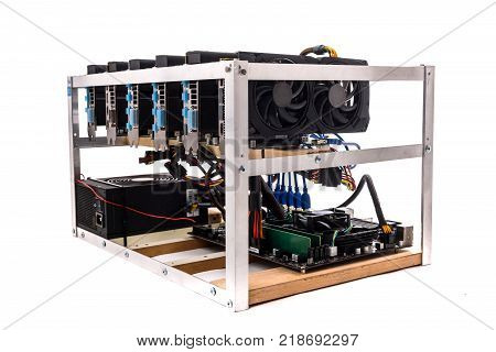 Cryptocurrency Mining Rig Pcie Riser Extenders Plugged To Motherboard.
