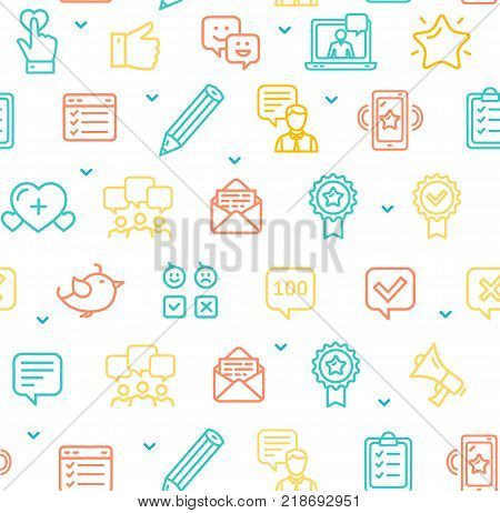 Feedback Seamless Pattern Background on a White for Web and App Loyalty User Concept. Vector illustration of Testimonial