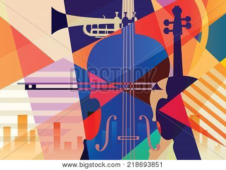 Abstract musical background. Two contrabasses and trumpet
