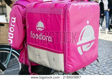 Foodora Courier With Backpack In Amsterdam