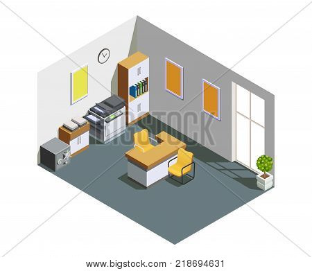 Bank customer assistant clerk office interior isometric view with desk cash box and fax printer vector illustration