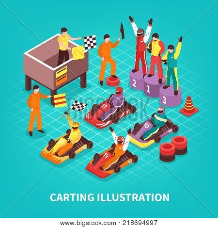 Isometric carting composition with isolated images of racing drivers on pedestal and carts with text vector illustration