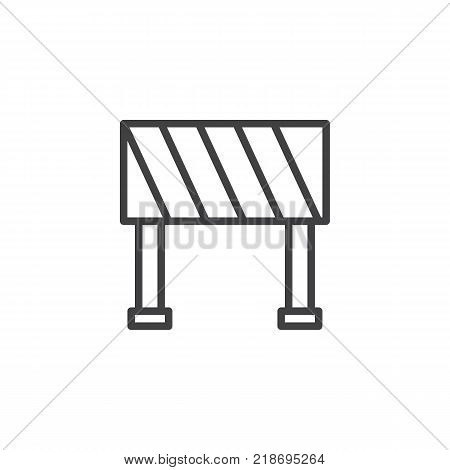 Road barrier line icon, outline vector sign, linear style pictogram isolated on white. Construction barricade symbol, logo illustration. Editable stroke