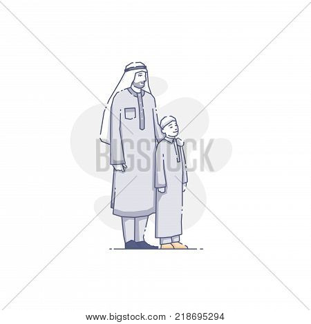 Vector illustration of middle eastern father and son standing together.
