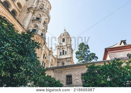 low angle view of catedral de malaga, malaga, spain
