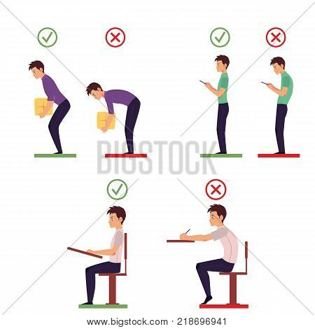 Correct and incorrect back posture for lifting heavy object, reading and writing, cartoon vector illustration isolated on white background. Portrait of man showing correct and incorrect back posture
