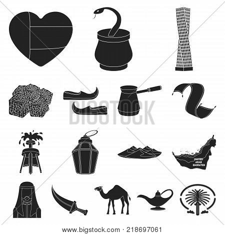 Country United Arab Emirates black icons in set collection for design. Tourism and attraction vector symbol stock  illustration.