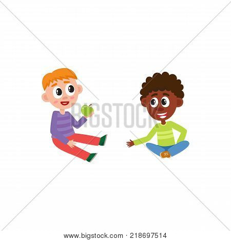 vector flat african and caucasian boys kids sitting at floor chating with each other, eating apple. Isolated illustration on a white background. Kindergarten concept