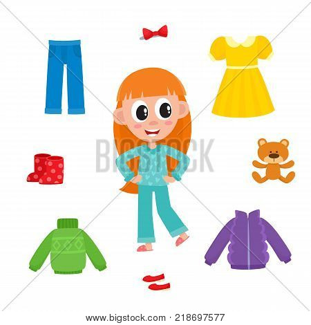 Little girl in pajamas and her wardrobe, clothes - dress, jeans, jacket, sweater, footwear, teddy bear, cartoon vector illustration isolated on white background. Cartoon little girl and her wardrobe