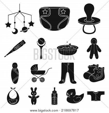 Birth of a baby black icons in set collection for design. Newborn and accessories vector symbol stock  illustration.