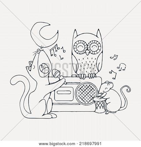 Animal musical band, cat, rat and owl. Karaoke illustration.