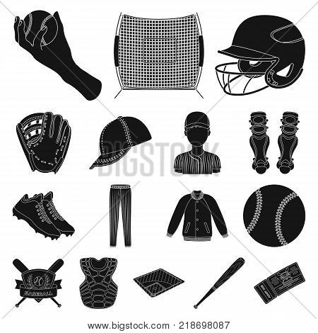 Baseball and attributes black icons in set collection for design.Baseball player and equipment vector symbol stock  illustration.