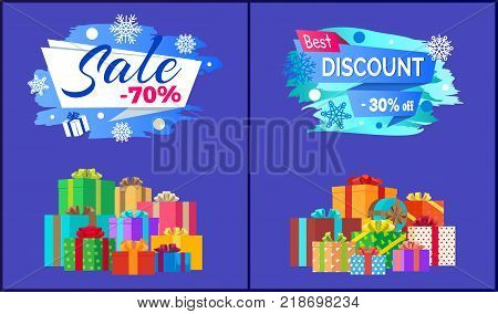 Final sale - 70 best discount - 30 off pile of presents in decorative wrapping paper isolated on blue vector, shopping labels with snowflakes